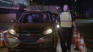 Driver going through DUI checkpoint